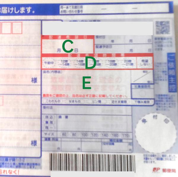ゆうパック伝票の品名、時間帯の書き方