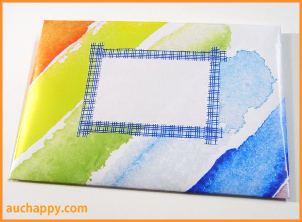 白い紙を貼って宛先スペースを作ります。