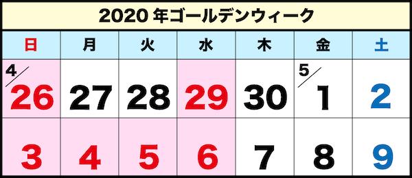 2020年のゴールデンウィークカレンダー