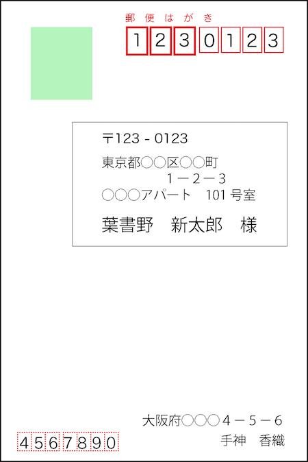 郵便はがきの書き方(ラベルシール)