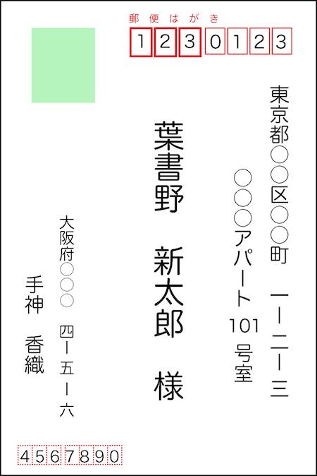郵便はがきの書き方(縦書き)