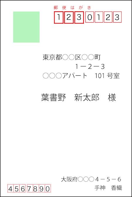 郵便はがきの書き方(横書き)